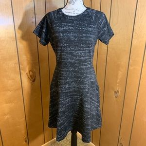 LOFT heather grey fit and flare dress